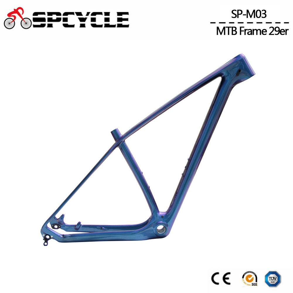 Spcycle Chameleon Color MTB Mountain Carbon Fiber Frames ,T1000 29er 27.5er 650B MTB Bicycle Carbon Frames BSA 73mm 15