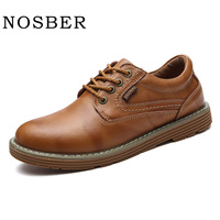 NOSBER New 2018 Brand Men S Leather Shoe Oxford Lace Up Round Casual Shoe Men Big Head Leather Shoes