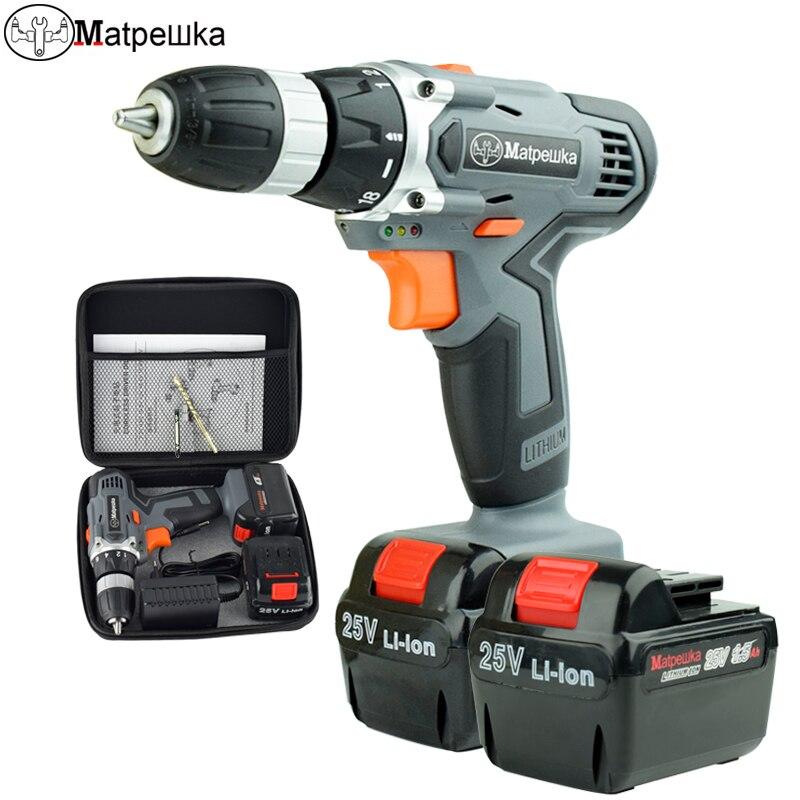 25 V nuevo destornillador eléctrico de doble velocidad de litio Taladro Inalámbrico multifuccional inalámbrico herramientas eléctricas + kit de herramientas bolsa de tela