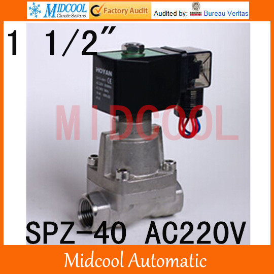 High temperature steam stainless steel solenoid valve normal closed AC220V port 1 1/2steam type SPZ-40