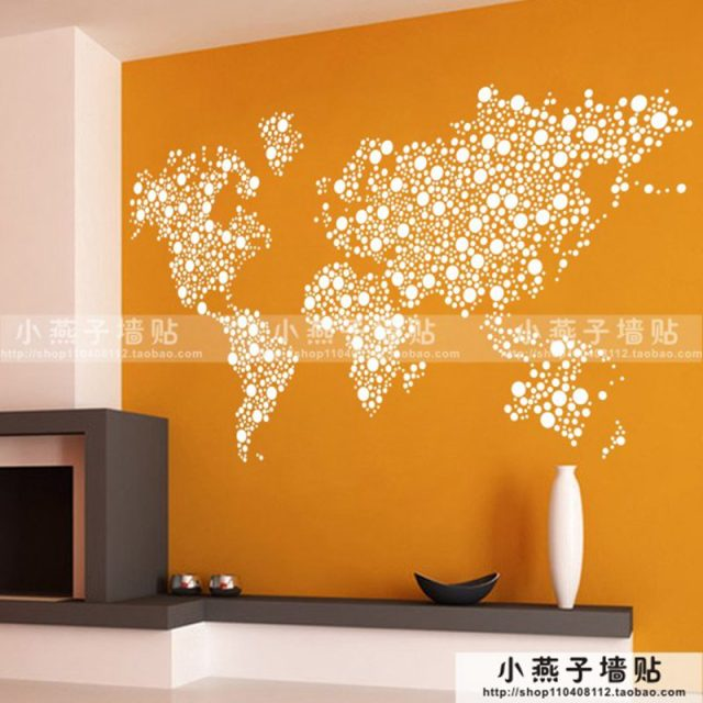 Large New Design Art Pattern Creative World Map Wall Stickers World Map  Wall Decals Circles Dot