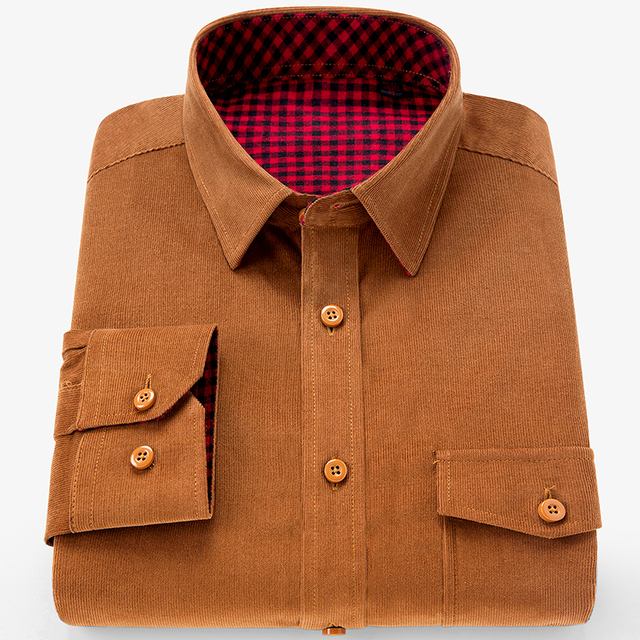 Brand 100% Cotton Corduroy Mens Dress Shirts Solid Color Men Thickening Long Sleeve Flannel Casual Shirt Men Camisa 2