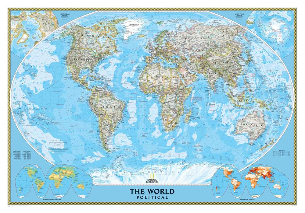 World political map Waterfall Wall Art HD Picture Canvas ...