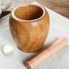 Grinder Rammer Garlic Pepper Crusher Medicine Wood Pot Puree Household Manual Mortar Bowl Pestle Squeeze