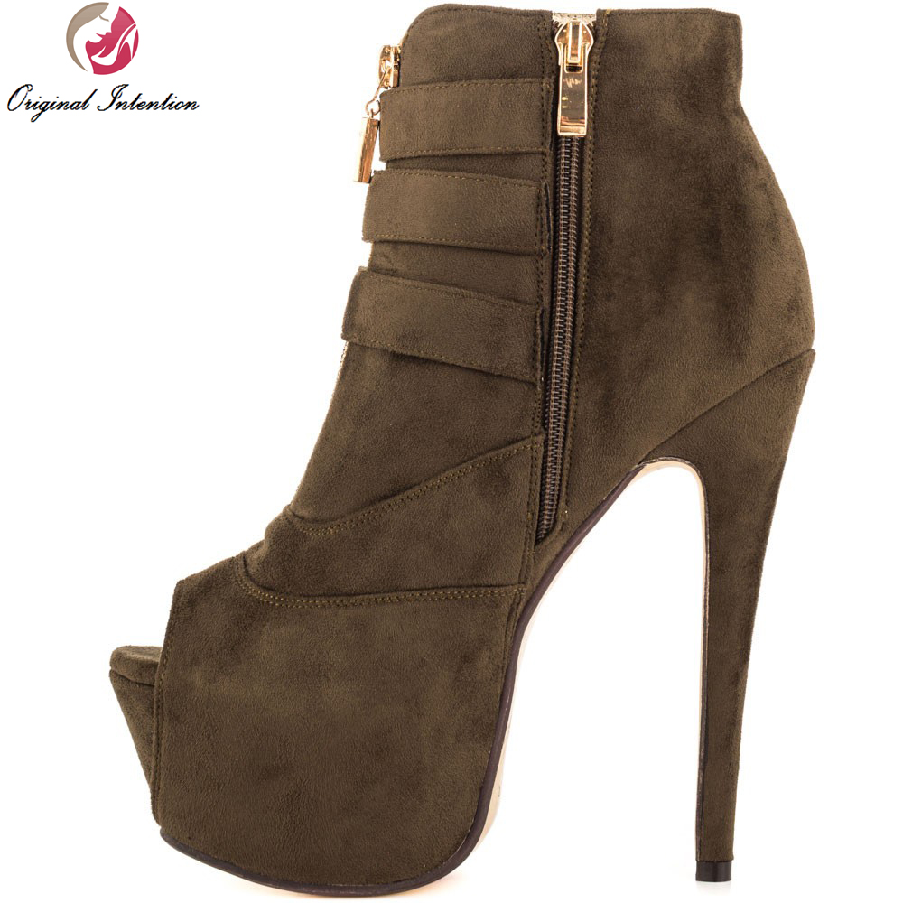 ФОТО Original Intention Sexy Women Ankle Boots High-quality Peep Toe Thin Heels Boots Brown Shoes Woman Plus US Size 4-15