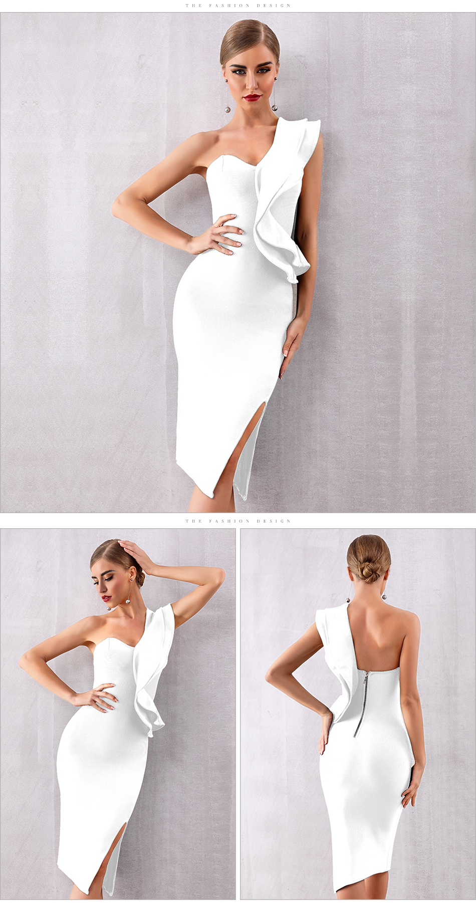 ADYCE 2019 New Summer Women Bandage Dress Celebrity Evening Party Dresses Sexy One Shoulder Ruffles Bodycon Club Dress Vestidos 7