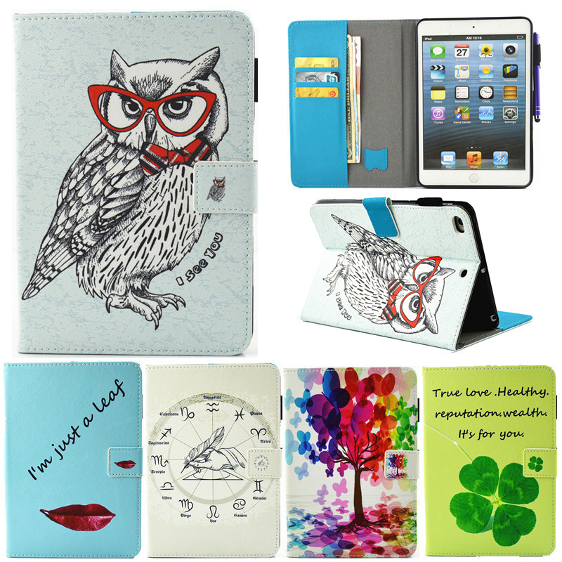 for Apple ipad Mini 4 Tablet Case PU Flip Leather Stand Cartoon Animal Owl Cat Cover for ipad Mini 4 Fundas Coque  for apple ipad mini 4 case flip grape patterns pu leather protective cover rotate tablet pc stand shock resistant coque para