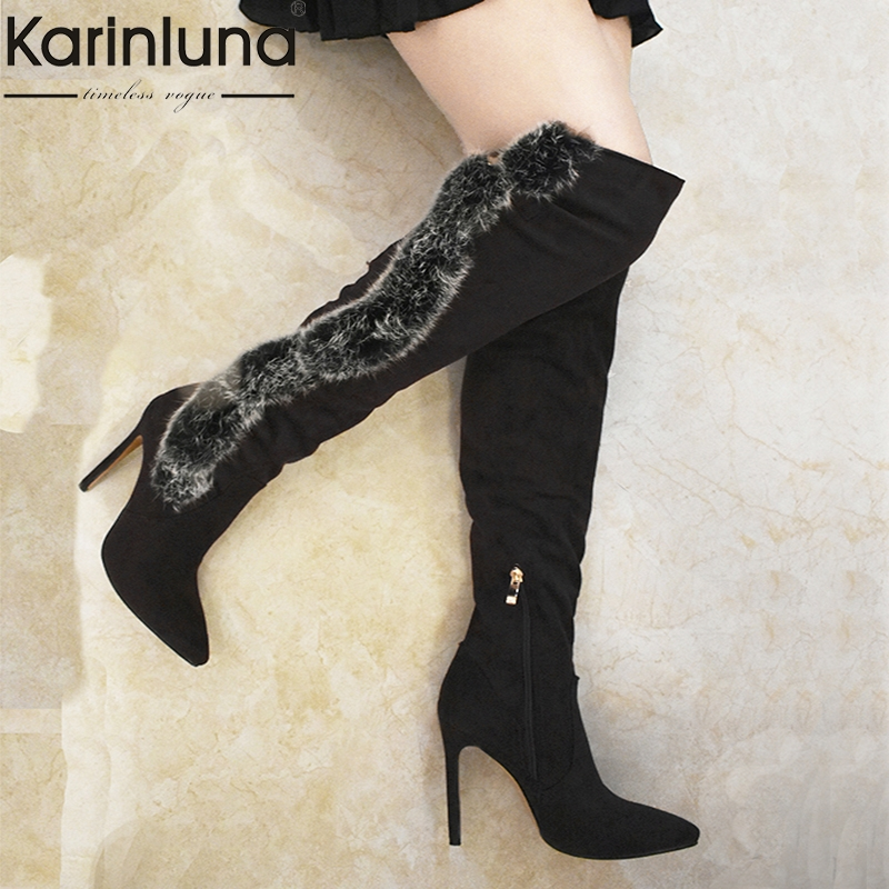 KARINLUNA 2018 dropship large size 34 48 sexy women's party Boots Shoes thin high heels real fur over the knee Boots shoes woman-in Over-the-Knee Boots from Shoes    1