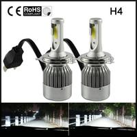 2Pcs 72W H4 Hi Lo 7600LM Led Car LED Headlight Kit Bulb 6000K White Automobiles Headlamp