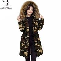 Camouflage Winter Thick Jacket Women Coat Slim Warm Long Parka Raccoon Fur Collar Hooded Outerwear Female Down Jacket LCY1073