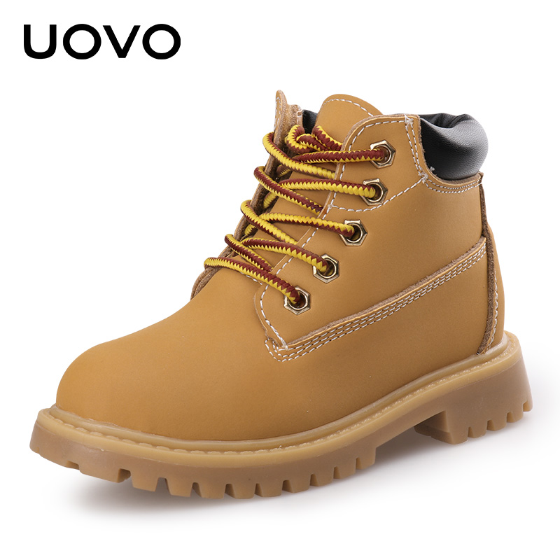 UOVO 2017 New Kids Fashion Boots Warm Martin Shoes Hook and Loop Closure with Colorful Lace