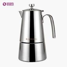 Heißer Verkauf 4 Tasse/6 Tasse Edelstahl Moka Kaffeemaschine Italienisch Klassisches Verdicken Home Kaffee Töpfe Für Induktionsherd