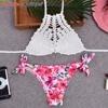 2017 Sexy Handmade Knitted Swimsuit Women High Neck Bikini Set Hollow Out Crochet Swimwear Printed Bottom