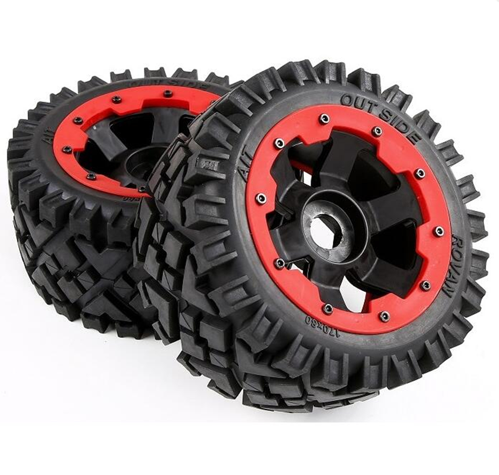 2pcs rc car all terrain rear tires sets assembly for 1/5 scale HPI racing 5B 5T 5SC LOSI TDBX FS MCD remote control toy truck image