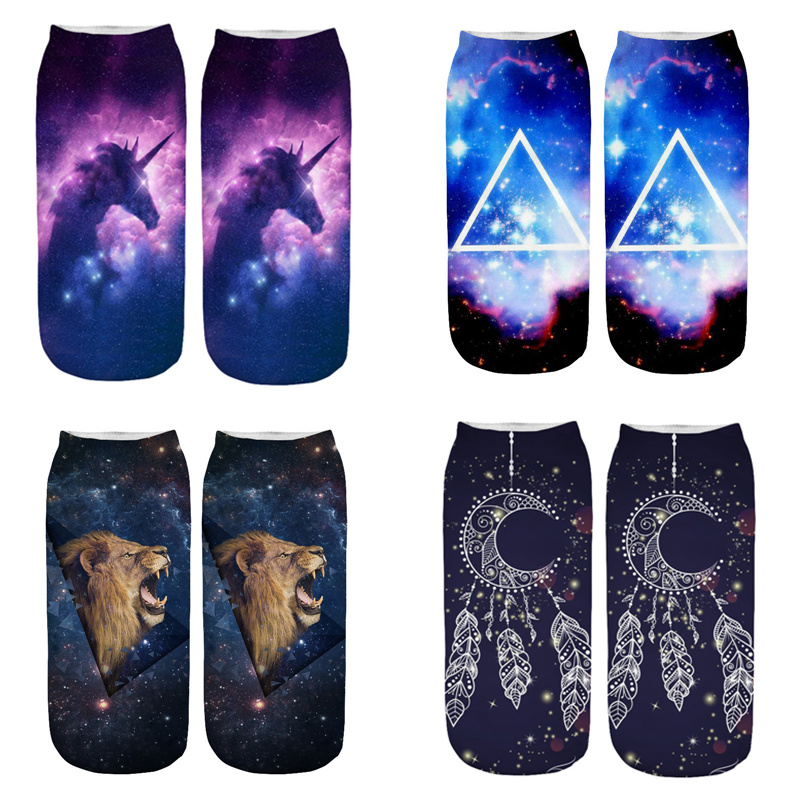 Dreamlikelin 3D Starry Aurora Unicorn Lion Dream Catcher 1 Pair Woman Men Mandala Flower Socks Fashion Flexible Ankle Socks