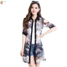 Korea 2017 Summer Latest Fashion Women Chiffon Shirt Coat Sexy Slim Leisure Lapel Printing Women Prevent Bask Clothes Coat G280