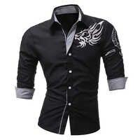 Männlichen 2018 Neue Männer Langärmeligen Kleid Hemd Drachen Männer Beiläufige Dünne Revers Männlichen Qualität Große Größe 4XL