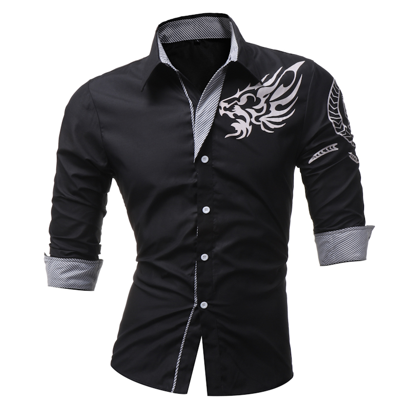 Male 2018 New Men'S Long-Sleeved Dress Shirt Dragons Men'S Casual Slim Lapel Male Quality Large Size 4XL