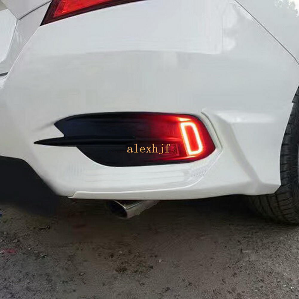 Varthion LED Light Guide Brake Lights Case for Honda Civic 10th 2016~ON, LED Brake + Turn Signals + Night Running Warning Lights led rear bumper warning lights car brake lamp cob running light led turn light for honda civic 2016 one pair