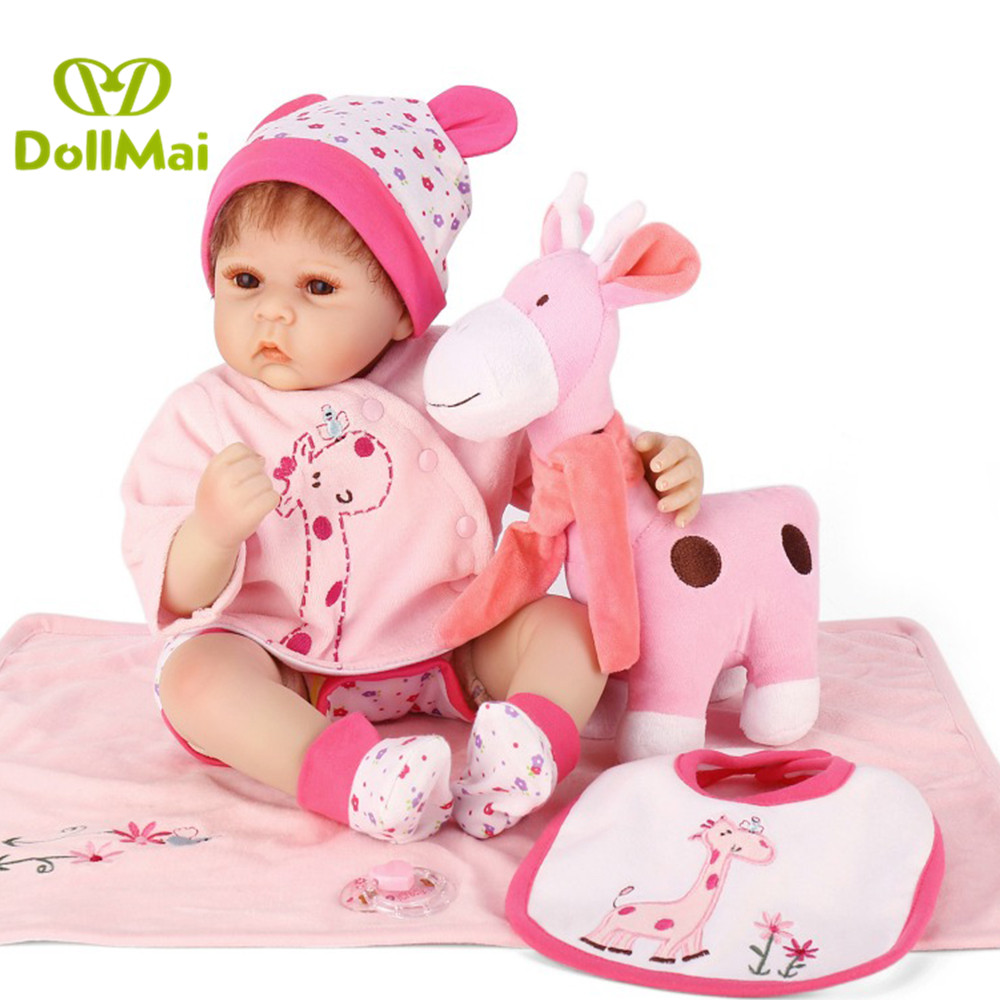 Luxury pink giraffe set bebes reborn 50cm silicone reborn baby dolls toys for girls child birthday gift lol bebek Luxury pink giraffe set bebes reborn 50cm silicone reborn baby dolls toys for girls child birthday gift lol bebek