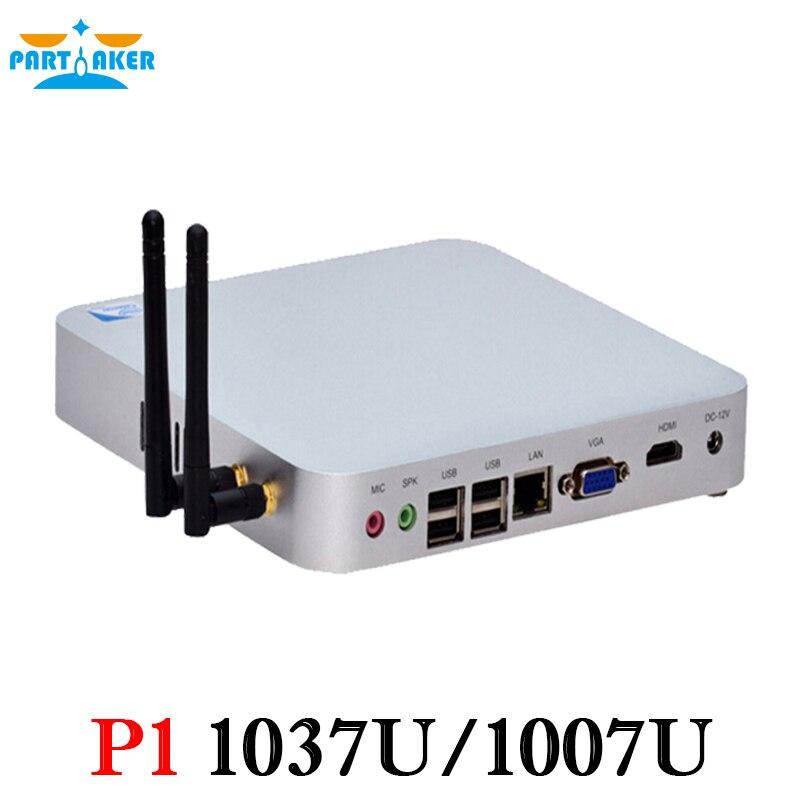 Mini pc with VGA HDMI LAN celeron 1037u fanless computer