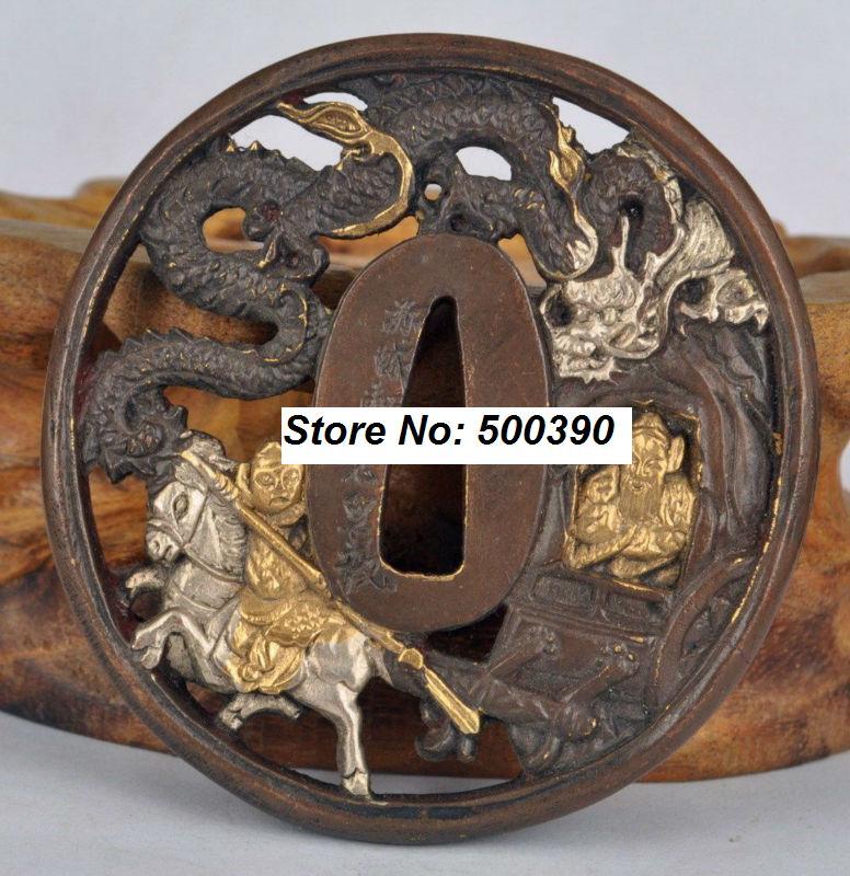 Brass Japanese katana Tsuba WAKIZASHI Sword Accessories Figure And Dragon Design