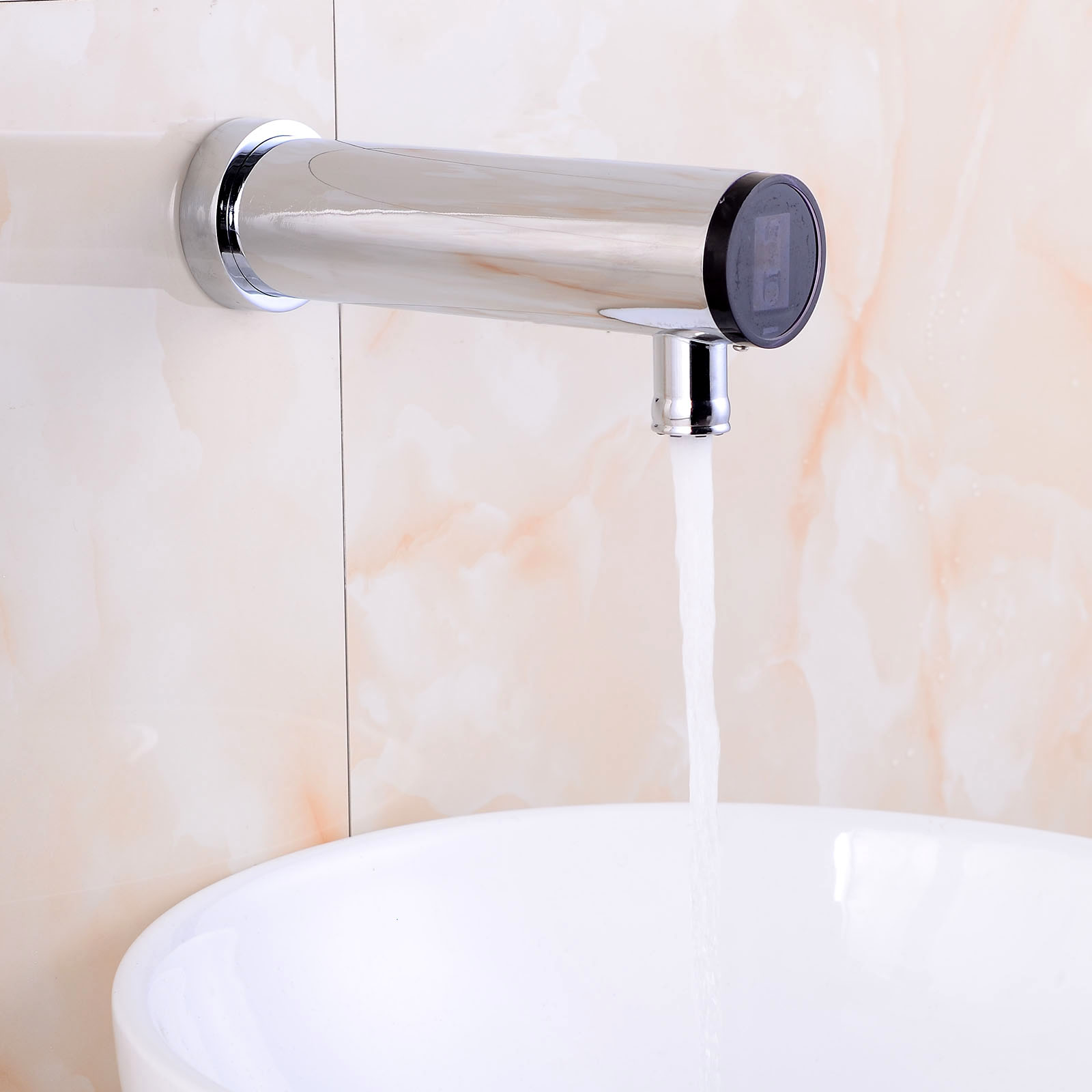 ФОТО Automatic Sensor Faucet Bathroom Sense Faucet Hand Touchless Sensor Tap Hot &Cold Water Mixer Faucet Brass Chrome Wall Mounted