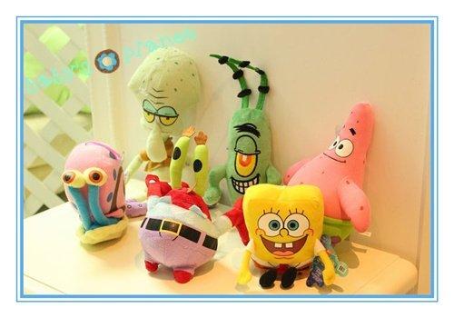 new freeshipping spongebob kid gift /spongebob plush toy/plush animal/best gift 6pcs/set cute cartoon toy /children's day gift