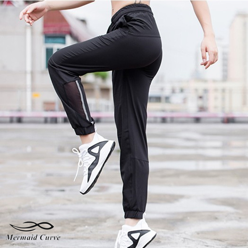 Running-Pants Reflection Women Sports Mermaid-Curve Little-Feet Night of Outdoor Breathable