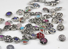 12pcs/lot MIX MANY STYLES Interchangeable Wholesale Hot H Alloy With Rhinestone snap new button watch Button for Snap Bracelets