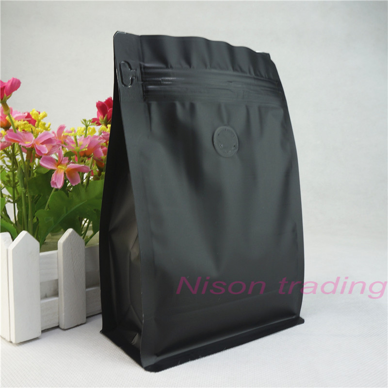 13x20cm Black Coffee bean valve bag 100pcs stand up zipper bags with flat bottom Pure aluminium