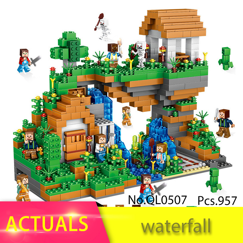 QL0507 Waterfall My World Legoing Minecraft Building Block Action Figures Bricks kids Educational Toys For Children Gift 12pcs set children kids toys gift mini figures toys little pet animal cat dog lps action figures