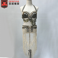 Tribal Vintage Belly Dance Costume Outfit Set 3pcs Coins Bra Tassel Belt Tribal Pants Belly Dance