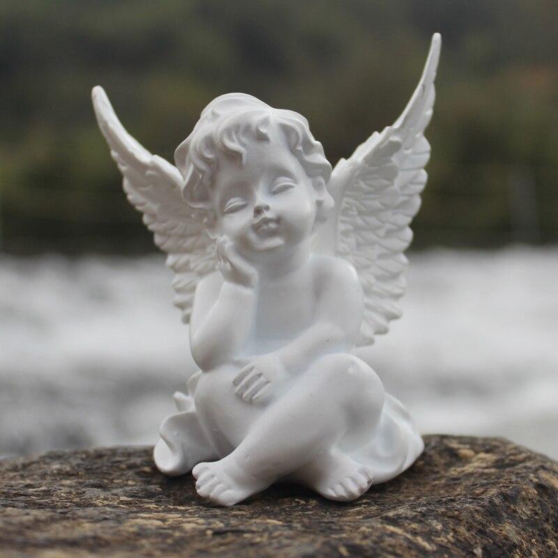 Escultura de anjo cupido em resina amóretto,