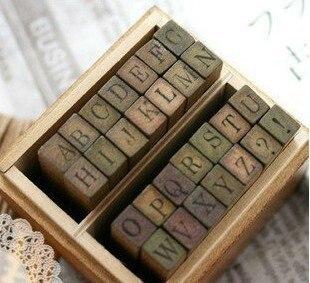 Free Shipping/Funny uppercase lowercase wooden stamp set/28pcs per set/DIY stamp/Iron Box/multi-purpose Decorative DIY/Wholesale