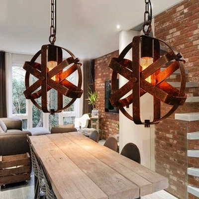 Nordic loft retro cafe bar iron etching lampshade pendant lamp single head bar restaurant industrial wind rust pendant lights new loft vintage iron pendant light industrial lighting glass guard design bar cafe restaurant cage pendant lamp hanging lights