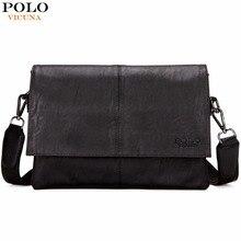 VICUNA POLO Promotion Black Messenger Bags For Men Classic Soft Mens Leather Shoulder Bag Trendy European Style Business Man Bag