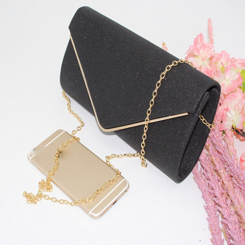 Envelope Clutch Messenger-Bag Crossbody-Bag Purses Designer Handbags Bling Solid-Chain title=