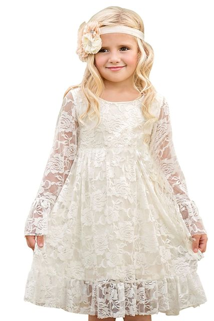f2da4f07a5 100% Real Samples Vintage Girls Lace Dreses 2019 Long Sleeves Princess Kids  Dresses Lace Flower