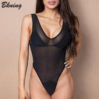 Bkning Black Mesh One Piece Swimsuit Thong Women Swimwear 2018 High Cut Swimming Suits Female Bodysuit