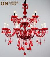 Longree Красный Дешевые дома деко двойной слой свеча люстра led crystal потолочный светильник жизни Современные Люстры Сделано в Китае