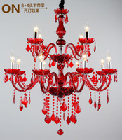 Longree Red Tanie Home deco dwuwarstwowa świeca żyrandol doprowadziły światła sufit kryształ dzienny nowoczesne żyrandole made in China