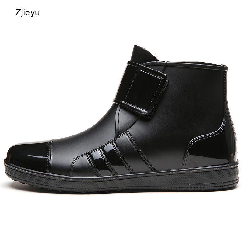 2017 mens rubber rain boot chanclo PVC black short bot fishing boots for Men light weight galoshes rainboots hook and loop