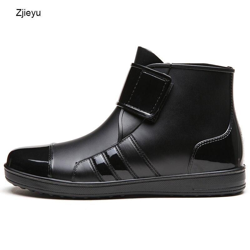 Mens nero stivale da pioggia chanclo PVC nero corto bot rainboots galosce stivali da pesca stivali chelsea peso leggero hook e loop