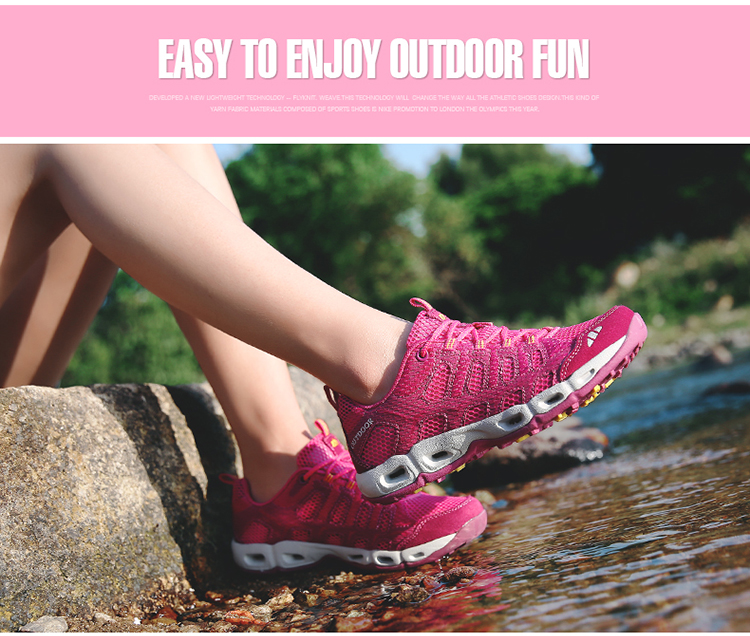 New 2017 Summer Unisex Aqua Shoes Air Mesh Clorts Outdoor Shoes Women Sneakers Lace Up Breathable Hiking Shoes Size 35-44 V1 (42)