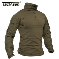 TACVASEN Men Summer Camouflage T shirts Army Combat Tactical T Shirt Military Men's Long Sleeve T Shirt Hunt Paintball Clothing