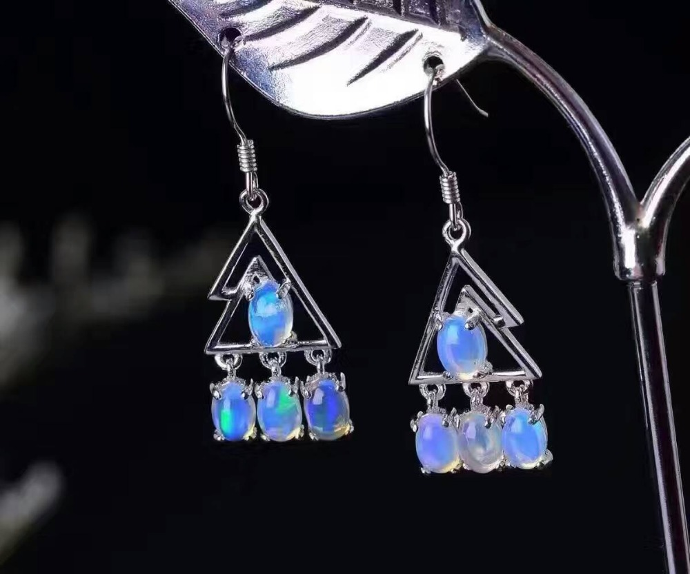 natural blue or white opal drop earrings 925 silver Natural gemstone earring for women trendy Elegant drop earrings for party natural blue or white opal drop earrings 925 silver natural gemstone earring for women trendy elegant drop earrings for party