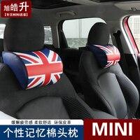 1pcs union jack Car headrest Car neck pillow Memory Foam Seat headrest for BMW MINI cooepr one F55 R55 F56 R60 R61 F60 jcw
