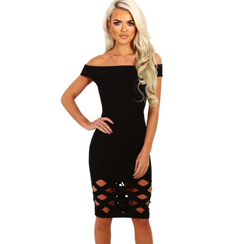 2018 Beautiful Modern Relaxing Knee-Lengh Womens Off Shoulder Hollow Bodycon Ladies Caged Sleevlees Dress Woman Dress