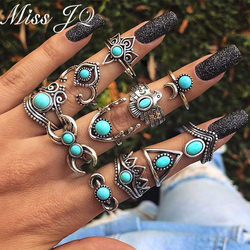Bayan JQ 11 adet/takım Vintage Gümüş Renk Hilal Baykuş Ay Yüzük Setleri Kadınlar için Etnik Stil Knuckle Takı ringen voor vrouwen